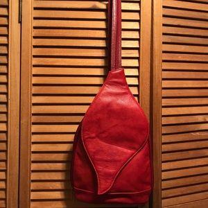 Design of Italy Red Leather Shoulder Bag/Backpack